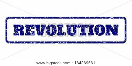 Navy Blue rubber seal stamp with Revolution text. Vector tag inside rounded rectangular frame. Grunge design and dust texture for watermark labels. Horisontal sticker on a white background.