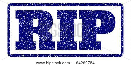 Navy Blue rubber seal stamp with Rip text. Vector caption inside rounded rectangular frame. Grunge design and dirty texture for watermark labels. Horisontal sticker on a white background.