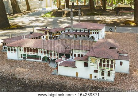 ALUSHTA CRIMEA RUSSIA-SEPTEMBER 19.2015: layout of the Khan's Palace in Bakhchisaray Park Crimea in miniature
