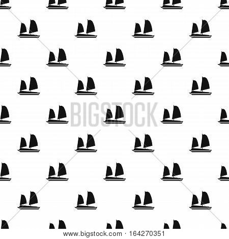 Vietnamese junk boat pattern. Simple illustration of vietnamese junk boat vector pattern for web