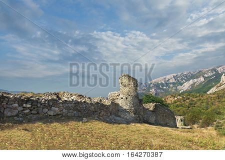 The medieval fortress Funa at the foot of the mountain South Demerdzhi. Crimea.
