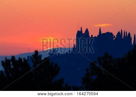 Castle Silhouette At Sundown