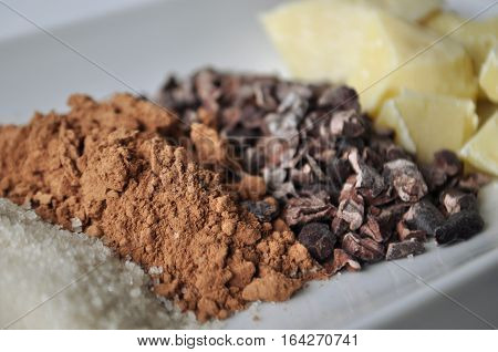 Ingredients for making chocolate - raw cacao butter, beans, powder, sugar and chocolates on a white plate