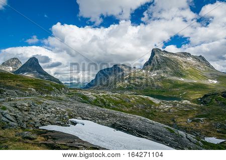 Norwegian mountain plateau landscape. Road from Geiranger fjord to Alesund, Norway.