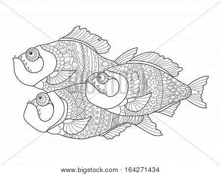 Piranha fish coloring book for adults vector illustration. Anti-stress coloring for adult. Tattoo stencil. Zentangle style. Black and white lines. Lace pattern