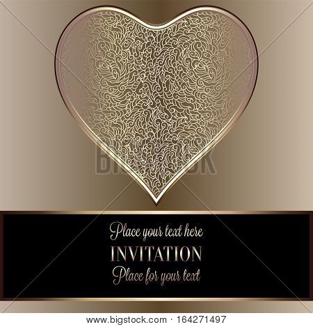 Romantic Background With Antique, Luxury Black And Gold Vintage Frame, Victorian Banner, Heart Made