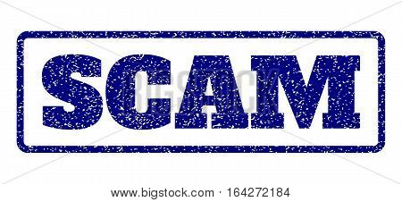 Navy Blue rubber seal stamp with Scam text. Vector caption inside rounded rectangular banner. Grunge design and unclean texture for watermark labels. Horisontal sticker on a white background.