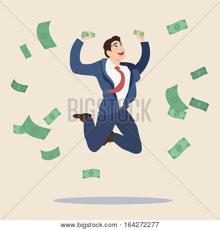 Happy manager or business man getting a lot of money and jumping for joy. Vector, flat, illustration