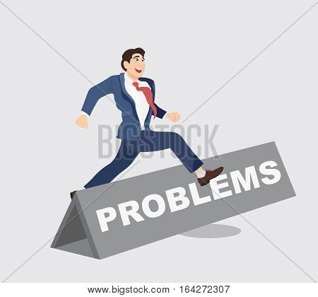 Businessman leaps and jumps over hurdle with word Problems on it. Overcoming barriers to success.