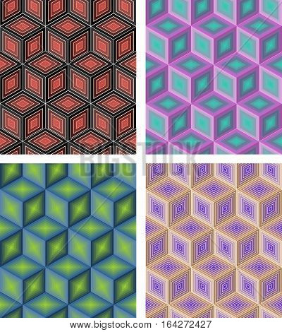 Set Of Abstract Seamless Vector Rhomboid Patterns In Different Colors, Cube Shapes