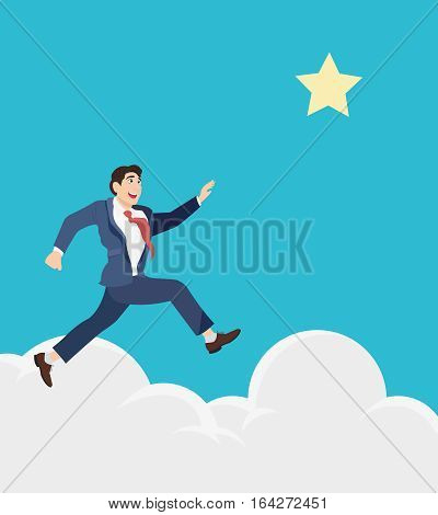 Businessman jumps to reach out for the star, for aspiration. Motivation in business concept.
