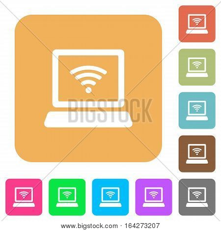 Computer with wireless symbol flat icons on rounded square vivid color backgrounds.
