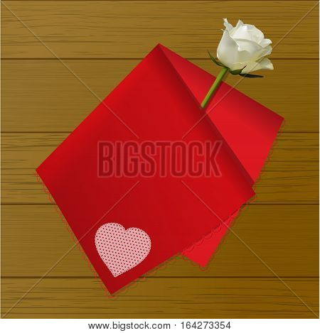3D Illustration of a Red Folded Handkerchief with Heart Decoration and White Ivory Rose Over Wooden Background