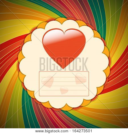 Valentine Paper Card with Heart and Copy Space for Messages Over Vintage Swirl Background