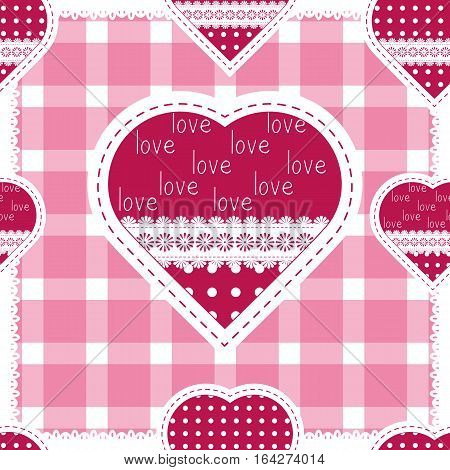 Seamless background for cushion pillow bandanna kerchief shawl fabric print. Texture for clothes and bedclothes. Vector pattern with hearts for Valentines day. Embroidery stylization