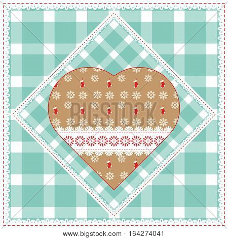 Floral background with decorative patchwork hearts. Easter vector pattern for cushion pillow bandanna silk kerchief or shawl fabric print. Texture for clothes bedclothes. Embroidery stylization