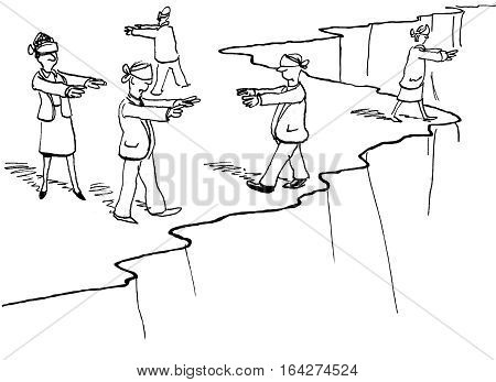 Business illustration of blindfolded businesspeople walking along a cliff edge.