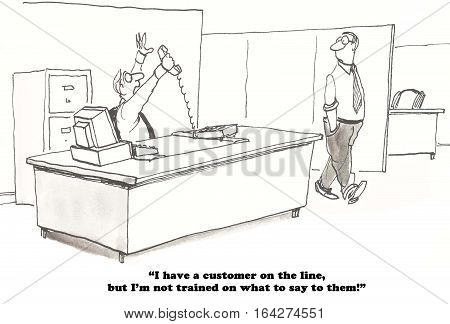 Business cartoon about a salesman who needs more training to be able to answer the customer's questions.