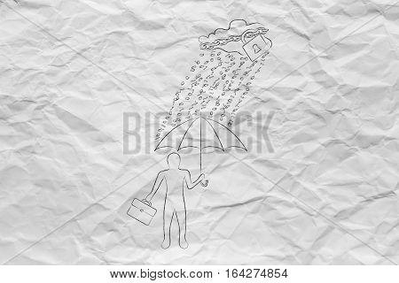 Man With Umbrella Under Binary Code Rain, Data Breach Protection