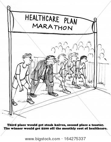 Healthcare cartoon about everyone entering a marathon race to win and get $200 reduction in health insurance monthly cost.