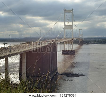 The Suspension Severn Bridge at Aust Gloucestershire