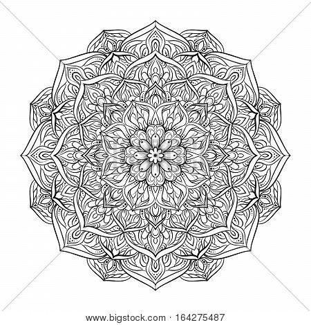 Vector Illustration Dotted Round Mandala In Black Isolated On White Background. Round Decorative Orn