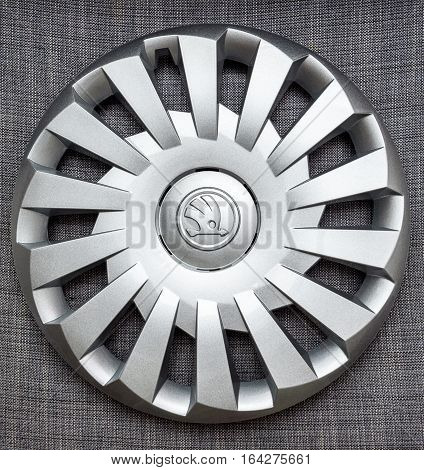 PARIS FRANCE - DEC 18 2016: Modern hubcap hub covers for the winter tyres made by Skoda Auto for Skoda Superb Skoda OCtavia and Skoda Roomster - online internet shopping