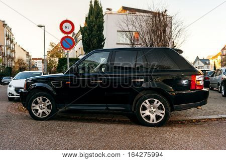 STRASBOURG FRANCE - NOV 29 2016: Land Rover beautiful SUV luxury english car parked in French city street