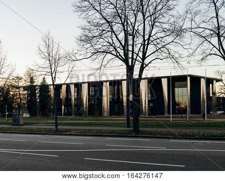 STRASBOURG FRANCE - NOV 29 2016: Palais de la Musique et des Congres - Music and Congress palace buiding in Strasbourg France