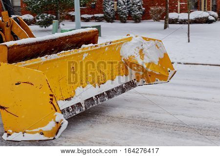 Snow Plow Doing  Removal After A Blizzard In Chicago Suberb.