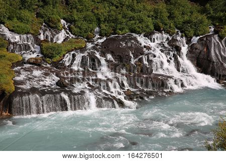 The fantastic Hraunfossar Waterfall in Iceland. Europe