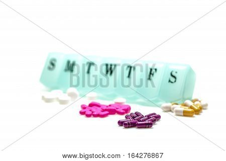 Pill Box And Assorted Pills