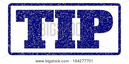 Navy Blue rubber seal stamp with Tip text. Vector caption inside rounded rectangular banner. Grunge design and scratched texture for watermark labels. Horisontal sign on a white background.