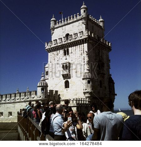 LISBON, PORTUGAL - June 2015:  iPhone Hipstamatic image of the Torre de Belem ( Tower of Belem ) in Belem Lisbon Portugal.