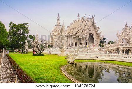 The white buddhist temple wat rong khun in chiang rai northern thailand.