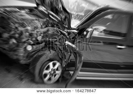 Car crash accident on street damaged cars after collision