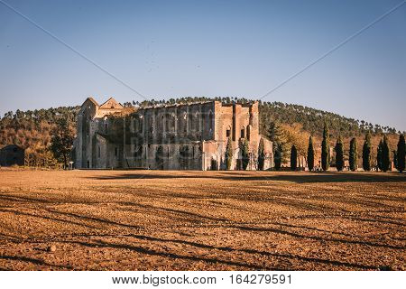 Remains Of The Cistercian Abbey Of San Galgano, Italy.