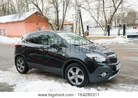 Smolensk, Russia - November 12, 2016: New Opel Mokka parked in winter near the house.