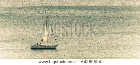 close up shot of the yacht in open sea