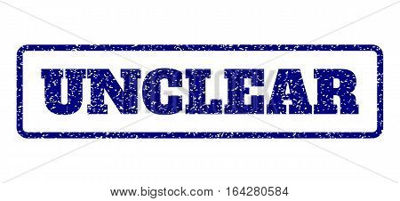 Navy Blue rubber seal stamp with Unclear text. Vector message inside rounded rectangular frame. Grunge design and unclean texture for watermark labels. Horisontal emblem on a white background.