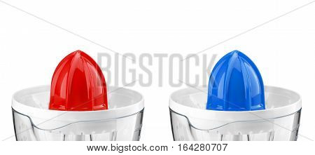Electric blue and red orange juicer isolated on white background