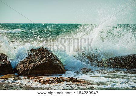 close up shot of the sea storm