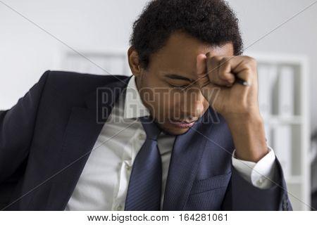 African American Man Brainstorming