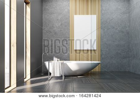 Bathroom With White Tub And Poster
