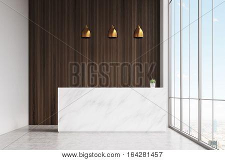 White Reception Dark Wooden Panel