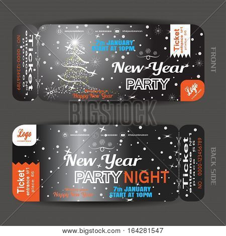 Vector New Year night party ticket on the dark gray gradient background with Christmas tree snowflakes and snowfall.