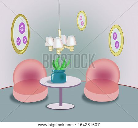 A cozy room with a round table and two chairs.