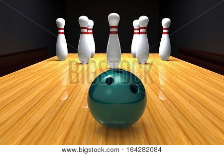 Bowling pins in a bowling alley lane with ball 3D rendering