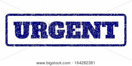Navy Blue rubber seal stamp with Urgent text. Vector tag inside rounded rectangular shape. Grunge design and dust texture for watermark labels. Horisontal emblem on a white background.