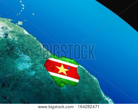 Flag Of Suriname From Space